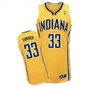 Maillot NBA Indiana Pacers #33 Myles Turner Or Adidas Authentic Alternate - Homme