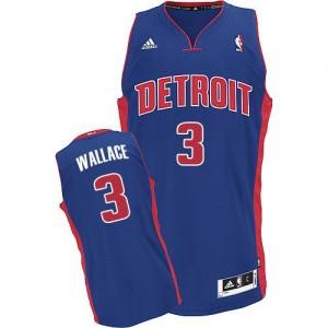 Maillot Adidas Bleu royal Road Swingman Detroit Pistons - Ben Wallace #3 - Homme