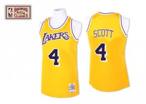 Los Angeles Lakers Mitchell and Ness Byron Scott #4 Throwback Swingman Maillot d'équipe de NBA - Or pour Homme