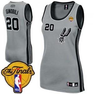 Maillot NBA San Antonio Spurs #20 Manu Ginobili Gris argenté Adidas Authentic Alternate Finals Patch - Femme