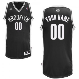 Maillot Adidas Noir Road Brooklyn Nets - Swingman Personnalisé - Enfants