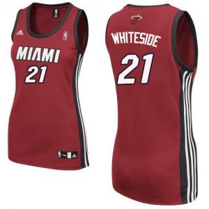 Maillot NBA Miami Heat #21 Hassan Whiteside Rouge Adidas Swingman Alternate - Femme