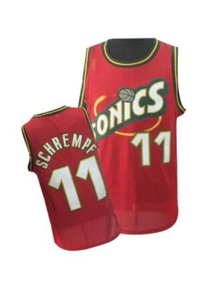 Maillot NBA Oklahoma City Thunder #11 Detlef Schrempf Rouge Adidas Swingman Throwback SuperSonics - Homme