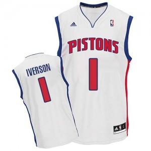 Maillot NBA Swingman Allen Iverson #1 Detroit Pistons Home Blanc - Homme