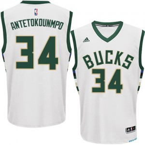 Maillot NBA Milwaukee Bucks #34 Giannis Antetokounmpo Blanc Adidas Authentic Home - Homme