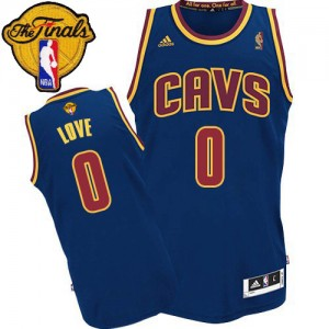 Maillot NBA Cleveland Cavaliers #0 Kevin Love Bleu marin Adidas Authentic 2015 The Finals Patch - Enfants