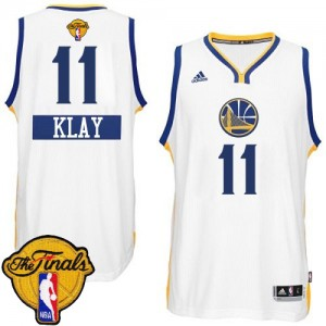 Maillot NBA Golden State Warriors #11 Klay Thompson Blanc Adidas Authentic 2014-15 Christmas Day 2015 The Finals Patch - Homme