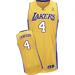 Maillot Authentic Los Angeles Lakers NBA Home Or - #4 Byron Scott - Homme