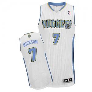 Denver Nuggets #7 Adidas Home Blanc Authentic Maillot d'équipe de NBA Vente pas cher - JJ Hickson pour Homme