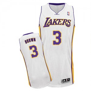 Maillot NBA Authentic Anthony Brown #3 Los Angeles Lakers Alternate Blanc - Homme