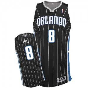 Maillot NBA Orlando Magic #8 Channing Frye Noir Adidas Authentic Alternate - Homme