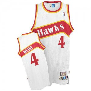 Maillot NBA Authentic Spud Webb #4 Atlanta Hawks Throwback Blanc - Homme