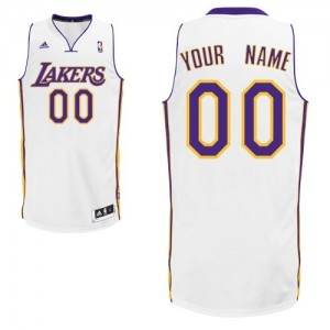 Maillot NBA Los Angeles Lakers Personnalisé Swingman Blanc Adidas Alternate - Enfants
