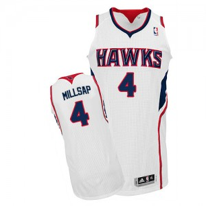 Maillot NBA Atlanta Hawks #4 Paul Millsap Blanc Adidas Authentic Home - Homme
