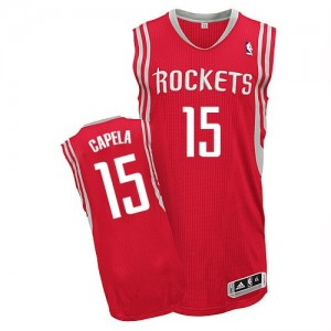 Maillot NBA Rouge Clint Capela #15 Houston Rockets Road Authentic Homme Adidas