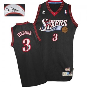 Maillot NBA Philadelphia 76ers #3 Allen Iverson Noir Adidas Authentic 1997-2009 Throwback Autographed - Homme