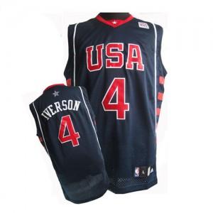 Team USA #4 Nike Summer Olympics Bleu marin Authentic Maillot d'équipe de NBA pas cher - Allen Iverson pour Homme