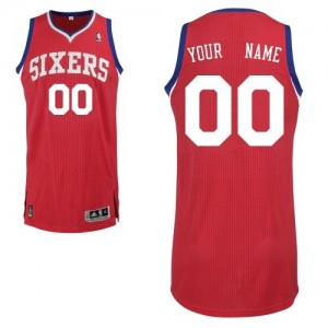 Maillot NBA Rouge Authentic Personnalisé Philadelphia 76ers Road Homme Adidas