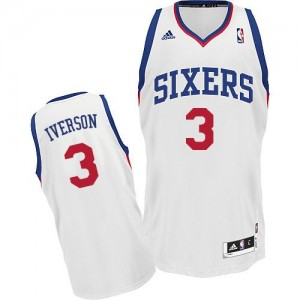 Maillot NBA Philadelphia 76ers #3 Allen Iverson Blanc Adidas Swingman Home - Homme