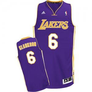 Los Angeles Lakers #6 Adidas Road Violet Swingman Maillot d'équipe de NBA sortie magasin - Jordan Clarkson pour Homme