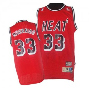 Maillot Adidas Rouge Throwback Finals Patch Authentic Miami Heat - Alonzo Mourning #33 - Homme