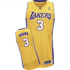 Los Angeles Lakers #3 Adidas Home Or Authentic Maillot d'équipe de NBA Soldes discount - Anthony Brown pour Homme