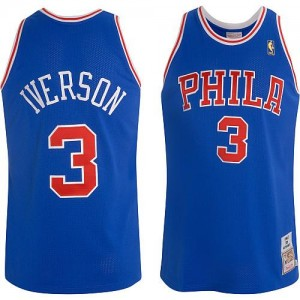 Maillot NBA Philadelphia 76ers #3 Allen Iverson Bleu Mitchell and Ness Authentic Throwback - Homme