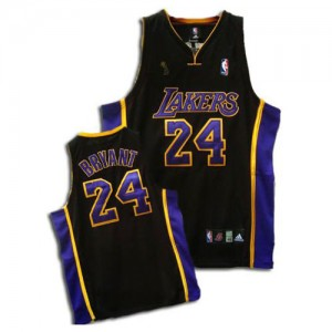 Maillot NBA Noir / Violet Kobe Bryant #24 Los Angeles Lakers Champions Patch Swingman Enfants Adidas