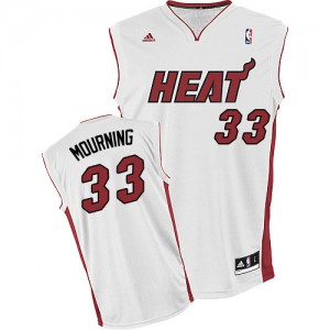 Maillot NBA Blanc Alonzo Mourning #33 Miami Heat Home Swingman Homme Adidas