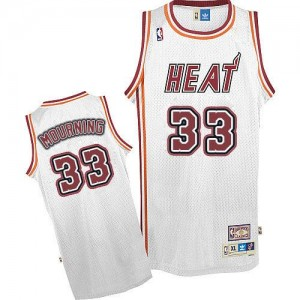 Miami Heat Alonzo Mourning #33 Throwback Authentic Maillot d'équipe de NBA - Blanc pour Homme