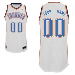 Maillot NBA Oklahoma City Thunder Personnalisé Authentic Blanc Adidas Home - Homme