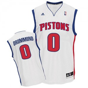 Maillot NBA Blanc Andre Drummond #0 Detroit Pistons Home Swingman Homme Adidas