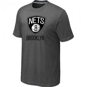 T-shirt principal de logo Brooklyn Nets NBA Big & Tall Gris foncé - Homme