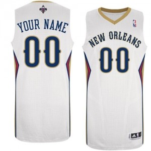 Maillot NBA New Orleans Pelicans Personnalisé Authentic Blanc Adidas Home - Enfants