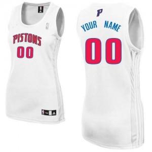 Maillot NBA Detroit Pistons Personnalisé Authentic Blanc Adidas Home - Femme