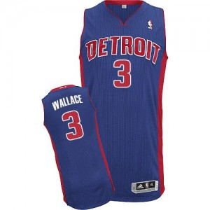 Maillot NBA Authentic Ben Wallace #3 Detroit Pistons Road Bleu royal - Homme