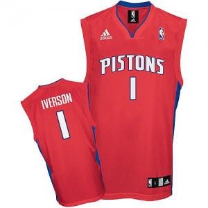 Detroit Pistons #1 Adidas Rouge Swingman Maillot d'équipe de NBA en vente en ligne - Allen Iverson pour Homme