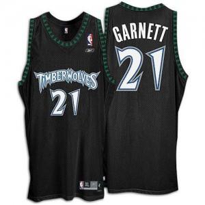 Maillot Authentic Minnesota Timberwolves NBA Throwback Noir - #21 Kevin Garnett - Homme