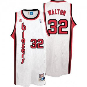 Maillot NBA Portland Trail Blazers #32 Bill Walton Blanc Adidas Swingman Throwback - Homme