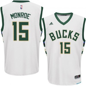 Maillot Adidas Blanc Home Authentic Milwaukee Bucks - Greg Monroe #15 - Homme