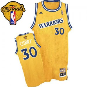 Maillot Authentic Golden State Warriors NBA Throwback 2015 The Finals Patch Or - #30 Stephen Curry - Homme