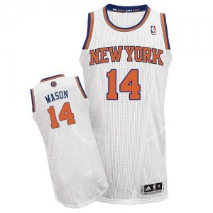 Maillot Adidas Blanc Home Authentic New York Knicks - Anthony Mason #14 - Homme