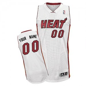 Maillot Adidas Blanc Home Miami Heat - Authentic Personnalisé - Homme